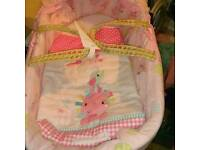 Pink Moses basket perfect condition