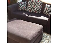 Three seater and two seater sofa with stool and cushions