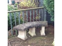 Solid stone curved garden bench, great condition