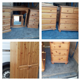 Pine bedroom furniture,wardrobe,2 chests ,dressing table 2 besides.