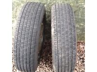 A pair of 155/13 winter tyres