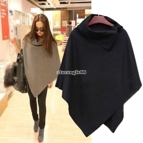 donne pipistrello mantello di lana poncho cappotto giacca top mantello scialle