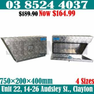Left And Right Side Aluminium Under Tray Toolbox Pair 750x200x400