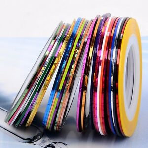 New!30Pcs Mixed Colors Rolls Striping Tape Line Nail Art Tips Decoration Sticker