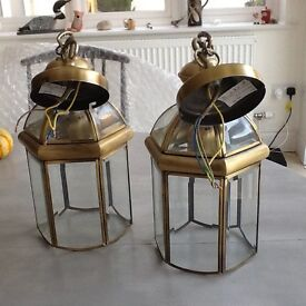 Pr brass effect antique style pendant hall lights, lanterns, almost new condition Eco bulb fittings