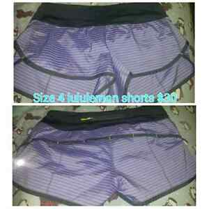 Two pairs of size 4 lululemon shorts