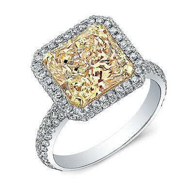 2.85 Ct. Fancy Yellow Radiant Cut Diamond Engagement Ring GIA VS2 18k NATURAL