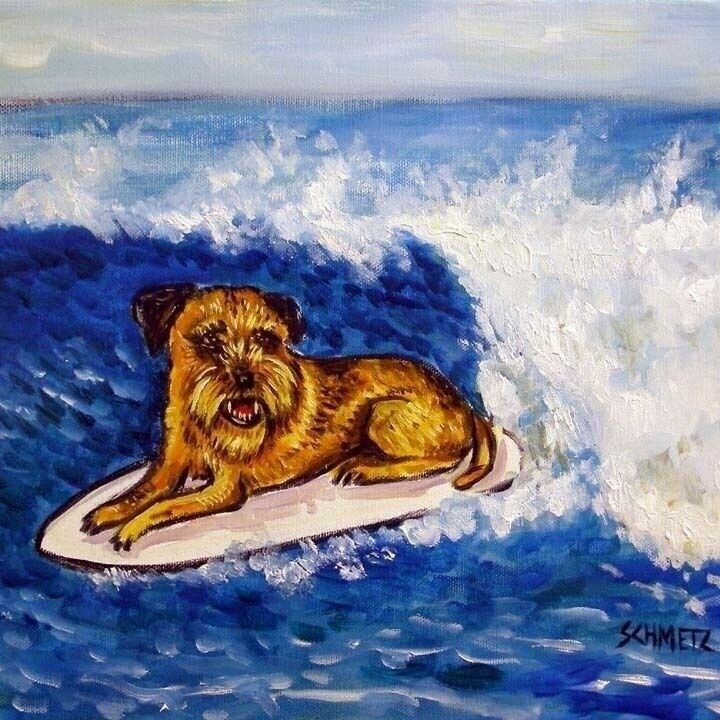 SURFING art with a BORDER TERRIER dog print on ceramic tile coaster JSCHMETZ