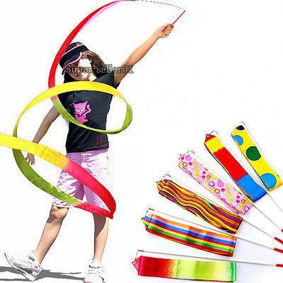Colorful Twirling Rod Dance Ribbon Gym Rhythmic Art Gymnastic Ballet Streamer  - Dance Ribbon
