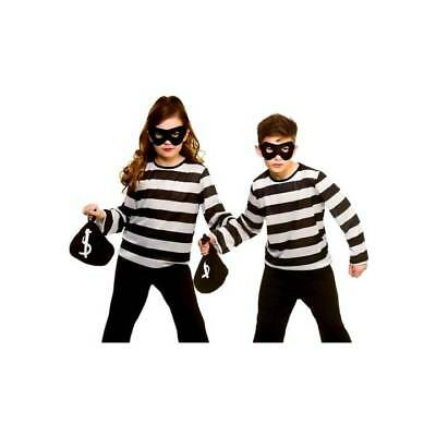 Kids Bank Robber Cat Burglar Thief Swag Bag Boys Girls Halloween Fancy Dress