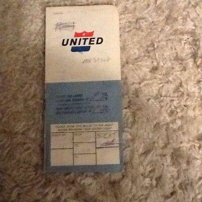 Vintage 1965 United Airlines Ticket Jacket Ticket Baggage Claim Hertz Advertisin