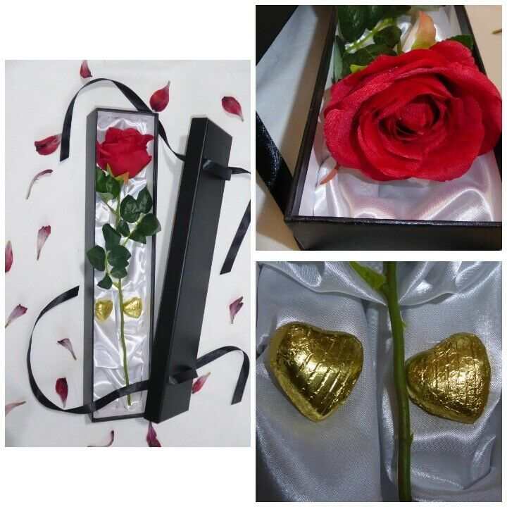 Premium Quality Red Silk Rose in a Silk Lined Box with 2 Belgian Chocolates.