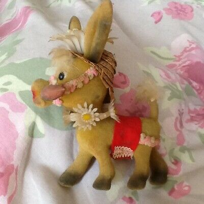 1960s vintage collectable flocked kitsch flower power pony