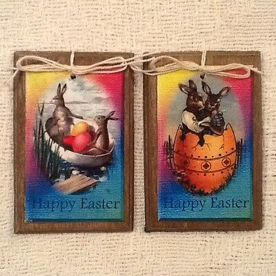 5 Handcrafted Wooden Easter Bunny Ornaments/Easter HangTags/GiftTags SETo - Bunny Ornaments
