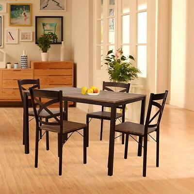 Lonabr 5PC Modern Kitchen Wooden Dining Table Chair Set Breakfast Home Furniture