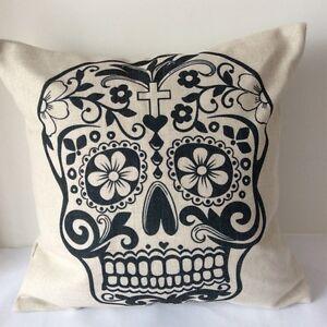 Vintage Sugar Skull Cotton Linen Cushion Cover Throw