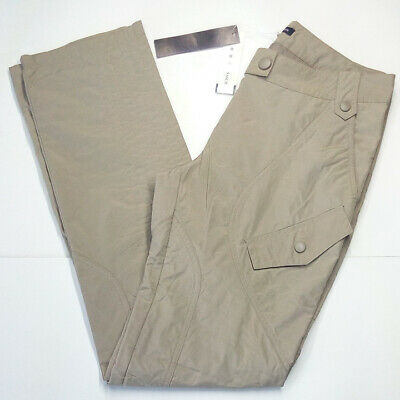 Pantalone donna tg. S 44 cotone dritti casual cargo semi impermeabili beige SHS
