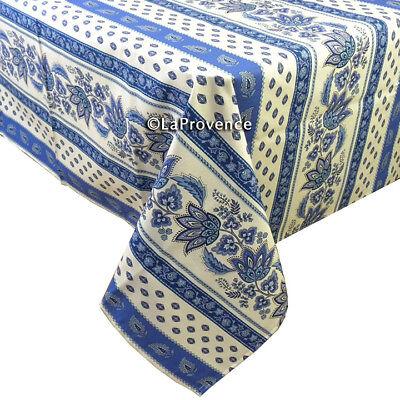 "Le Cluny 60"" x 96"" Rectangular COATED Provence Tablecloth - Lisa Caucasian"