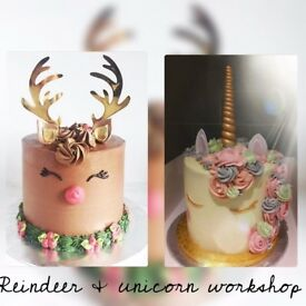 Reindeer and unicorn cake workshop