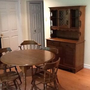 Dining room table,chairs and buffet, and bookcase