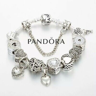 "Authentic Pandora Charm Bracelet Silver White  ""LOVE STORY"" with European Charms"