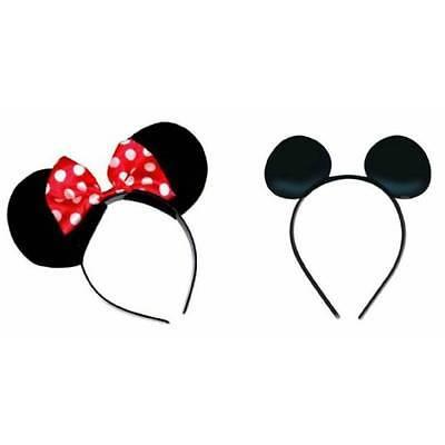 I x Minnie Mouse and 1 x Mickey Mouse Soft Foam Ears on Headband Fancy Dress (Mickey Mouse Kostüme Accessoires)