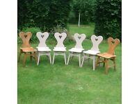Six heart shaped chairs
