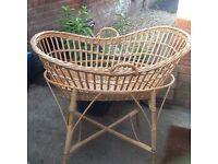 Vintage cane baby crib