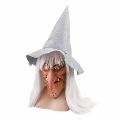 e Maske , Grau Haar Perücke und Hut Horror Halloween Kostüm (Latex-hexe Maske)