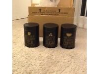 Black & gold tea , coffee , sugar canister set brand new in box £10