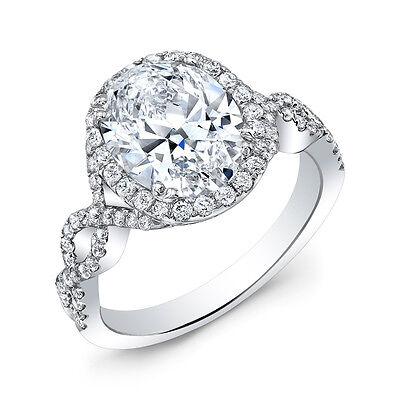 2.25 Ct Halo Oval Brilliant Cut Diamond Twist Shank Engagement Ring G,VS2 GIA