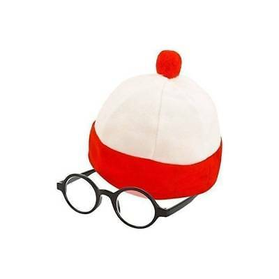 KIDS Red & White Stripe Hat & Free Glasses World Book Week Character Fancy Dress (Boys Fairytale Characters)