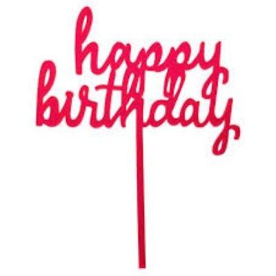 Happy Birthday Pink Cake Topper - Spritz™ - Pink Birthday Cake