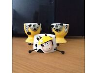 Adorable set of three egg cups, two cats and one cow
