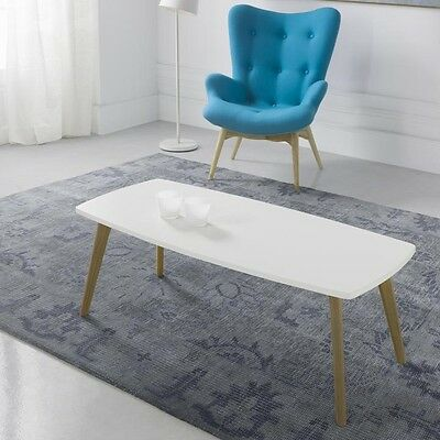 Mesa centro estilo nórdico color blanco patas madera