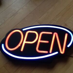 "Flashing ""OPEN"" Sign - Bright Red & Blue - 27 x 16"