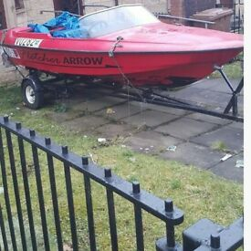 14ft flecture speed boat with trailer 5ltank engine as it got sold with last boat