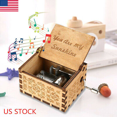 Retro Wooden Engraved Hand Crank Music Box Toys Kids Birthday Gifts Xmas USA
