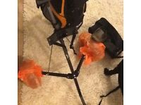 Golf clubs trolley & size 8 shoes good condition