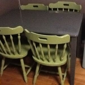 Small Grey wood table w/4 green chairs