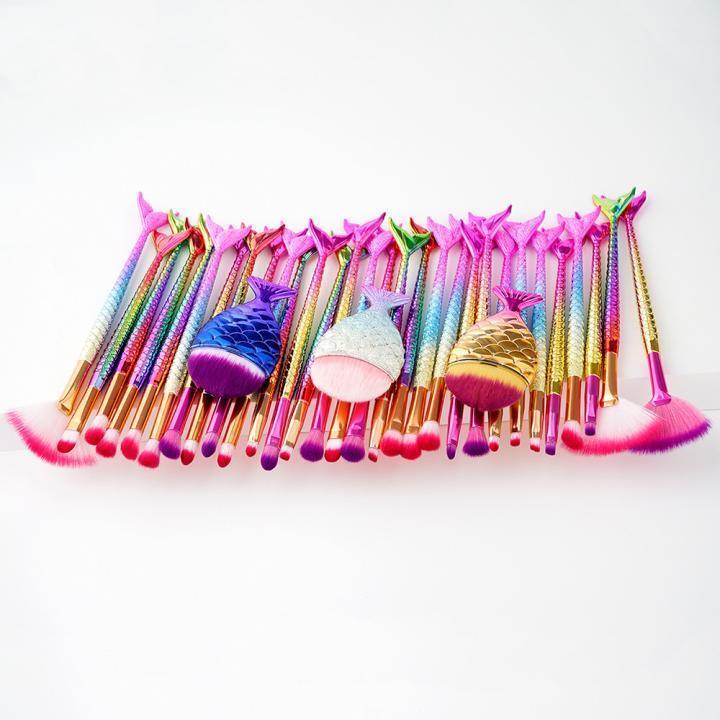 11PCS Mermaid Brush Set Foundation Eyeshadow Brushes Makeup Brushes Beauty sy