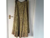 Women's embroidered three piece top,skirt, scarf and matching pouch in thread embroidery new £150