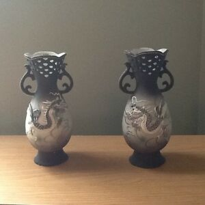 Pair of Vintage Japanese Dragon Ware Porcelain Vases