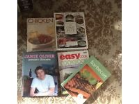 A small selection of cookery books, in pristine condition. Includes a Jamie Oliver and BBC cookbook