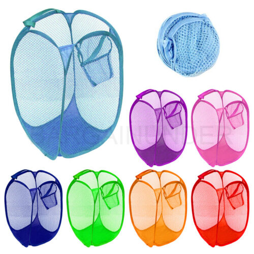 Pop Up Foldable Laundry Basket Mesh Hamper Washing Clothes Bag Storage Bin USA