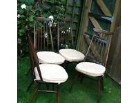 Set of Ercol Windsor Goldsmith Dining Chairs complete with cushion/chair pads all original