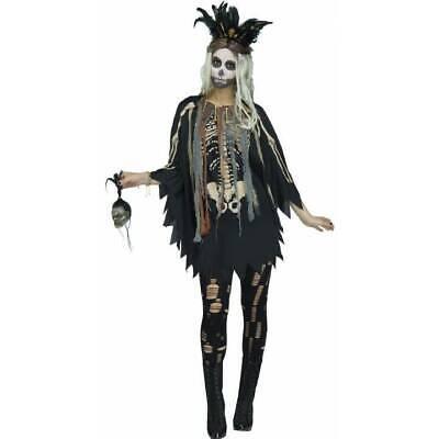 Voodoo Doctor Costume (Ladies Voodoo Priestess Poncho Witch Doctor Halloween Fancy Dress)