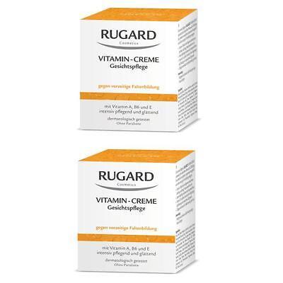 RUGARD VITAMIN CREME 2x100ml Antifaltenpflege für trockene Gesichtshaut + PROBEN