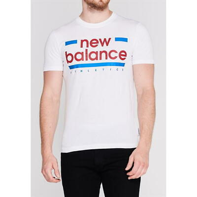 MENS WHITE NEW BALANCE ATHLETICS CREW NECK SHORT SLEEVE TEE SHIRT T-SHIRT