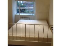 Standard DOUBLE BED Metal Frame/Headboard/Footboard with Slated Base & Mattress
